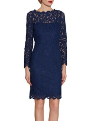 Gina Bacconi Lace Dress With Jewelled Flower Buttons Navy