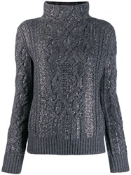 Ermanno Scervino Embellished Mock Neck Jumper Grey