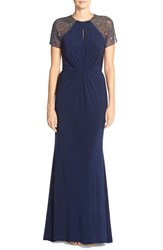 Women's Js Boutique Embellished Illusion Jersey Gown
