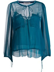 Dorothee Schumacher Patch Pocket Blouse Blue
