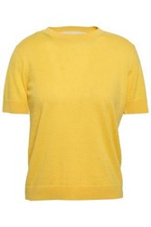 Red Valentino Redvalentino Woman Point D'esprit Trimmed Cashmere And Silk Blend Sweater Yellow