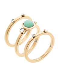 Michael Kors Easy Opulence Blue Mountain Jade Stack Ring Set Gold