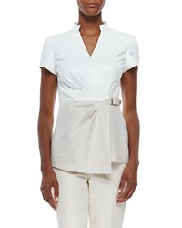 Lafayette 148 New York Short Sleeve Linen And Leather Blouse White Multi