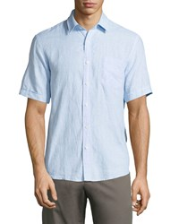 Neiman Marcus Linen Short Sleeve Mini Houndstooth Sport Shirt Sky Blue