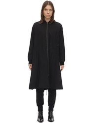 Liska Long Reversible Cotton Bomber Coat Black