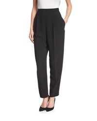 The Row Stretch Wool Side Zip Tapered Pants Black
