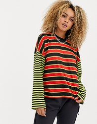 The Ragged Priest Mixed Stripe Skater Tee Multi