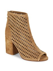 Flash Perforated Peep Toe Leather Ankle Boots Wilde