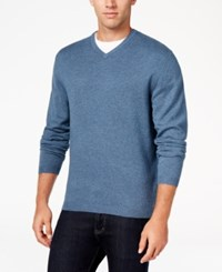 Weatherproof Vintage Men's Big And Tall V Neck Sweater Only At Macy's Adriatic Blue