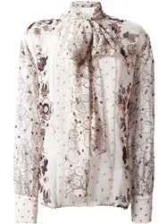 See By Chloe Floral And Dot Print Shirt Nude Neutrals