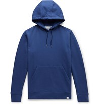 Norse Projects Vagn Loopback Cotton Jersey Hoodie Blue