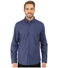 Kenneth Cole Sportswear Long Sleeve One Pocket Button Down Collar Dot Print Midnight River Combo Men's Long Sleeve Button Up Blue