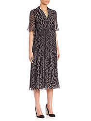 Giamba Leopard Print Georgette Midi Dress Black