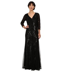 Adrianna Papell 3 4 Sleeve Beaded Wrap Front Gown Black Women's Dress