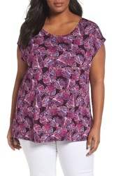 Sejour Plus Size Women's Cap Sleeve Tee Purple Leaf Print