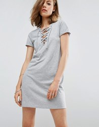 Asos Lace Up Front T Shirt Dress Grey