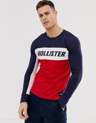 Hollister Colour Block Chest Logo Long Sleeve Top In Navy Red White Multi