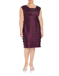 London Times Plus Embellished Ruffled Sheath Dress Currant
