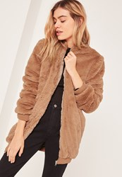 Missguided Brown Hooded Faux Fur Bomber Jacket Camel