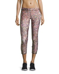 Terez Confetti Glitter Capri Performance Leggings Multi