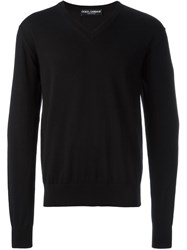 Dolce And Gabbana V Neck Sweater Black