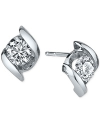Sirena Diamond Twist Stud Earrings 1 3 Ct. T.W. In 14K White Gold No Color