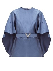 Valentino Belted Cape Sleeve Silk Satin Top Blue