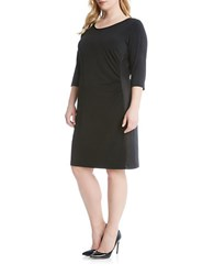 Karen Kane Plus Scoopneck Dress With Faux Leather Trim Black