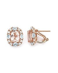 Bloomingdale's Morganite Aquamarine And Diamond Stud Earrings In 14K Rose Gold Pink Rose
