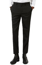 Topman Men's Skinny Fit Pin Dot Tuxedo Trousers Black