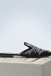Kenzo Leather Tiger Head Slippers Black