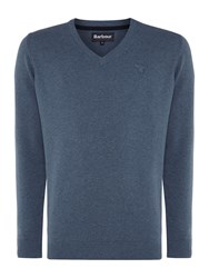Barbour V Neck Pima Cotton Jumper Indigo