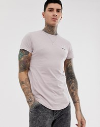Religion T Shirt With Panel Detail In Dusty Pink