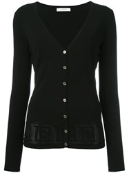 Versace Collection Pinhole Detailed Cardigan Black