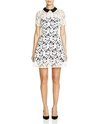 Aqua Collared Lace Overlay Dress 100 Bloomingdale's Exclusive White Black