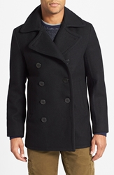 Schott Nyc Slim Fit Wool Blend Peacoat Navy