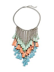Saks Fifth Avenue Tassel Bib Necklace Silver