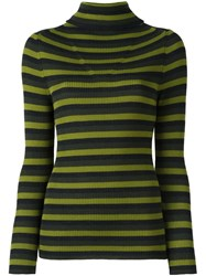 P.A.R.O.S.H. Roll Neck Striped Pullover Green