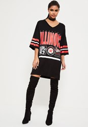 Missguided Black Illinois Sports Jersey Dress Red