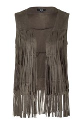 Orla Khaki Suede Fringed Gillet Jacket By Goldie