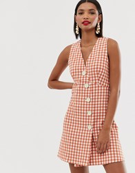 Mango V Neck Button Front Dress In Gingham Orange
