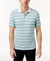 Alfani Men's Stretch Striped Polo Only At Macy's Green Tide