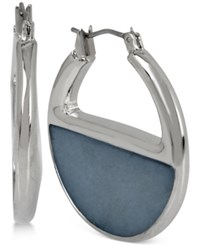 Kenneth Cole New York Color Block Shell Inspired Hoop Earrings Blue
