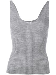 Alexander Wang T By Variegated Knit Cropped Tank Top Grey