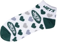 For Bare Feet Women's New York Jets Heart Logo Repeat Socks White Green