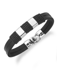 Sutton By Rhona Sutton Men's Stainless Steel Leather Strap Station Bracelet Black