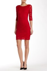 Laundry By Shelli Segal 3 4 Length Sleeve Lace Dress Red