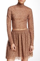 Soprano Mock Neck Lace Blouse Brown
