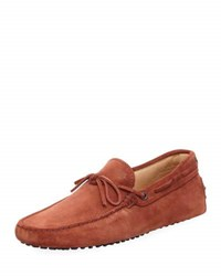 Tod's Suede Flat Slip On Moccasin Brown