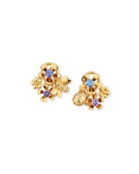 Mimi So The Wonderland 18K Gold Earrings With Diamonds And Sapphires
